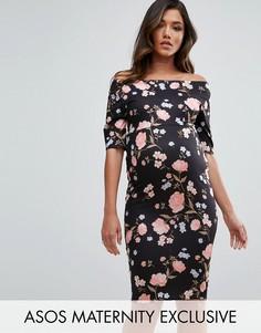 Платье с открытыми плечами, рукавами до локтя и цветочным принтом в виде роз ASOS Maternity - Мульти