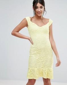 Платье с широким вырезом и баской по низу Paper Dolls - Желтый
