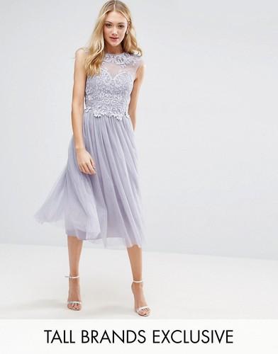 Платье миди с тюлевой юбкой и отделкой на лифе Little Mistress Tall - Розовый