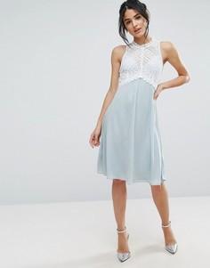 Платье миди с лифом из кроше Elise Ryan - Синий