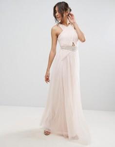 Платье макси с отделкой на талии Little Mistress - Бежевый