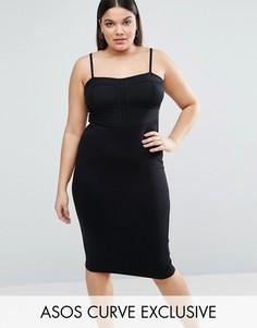 Платье миди на бретельках с полупрозрачной корсетной вставкой ASOS CURVE - Черный