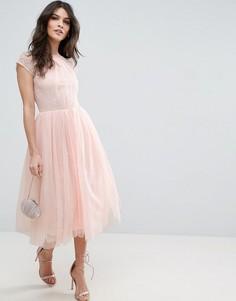 Платье миди для выпускного из кружевного тюля ASOS PREMIUM - Фиолетовый