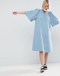 Джинсовое платье с широкими рукавами ASOS WHITE - Синий