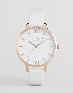 Часы с большим белым циферблатом и кожаным ремешком Oliva Burton - Золотой