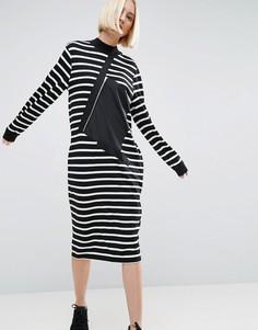 Платье-футболка в полоску с карманом на молнии ASOS WHITE - Мульти
