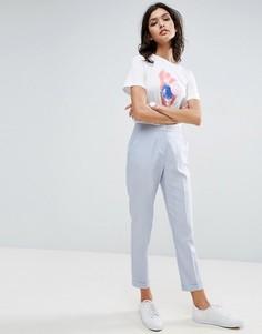 Льняные брюки-сигареты ASOS - Серебряный