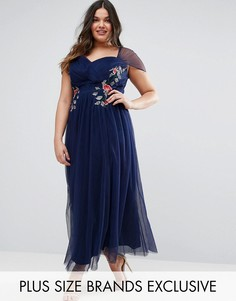 Платье макси с цветочной вышивкой Little Mistress Plus - Темно-синий