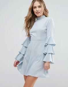 Платье с высокой горловиной и оборками на рукавах Influence - Синий