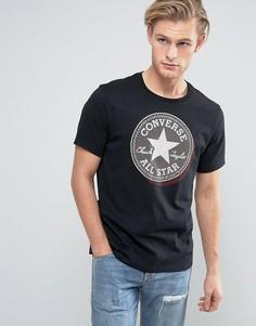 Черная футболка с большим логотипом Converse 10003386-A01 - Черный