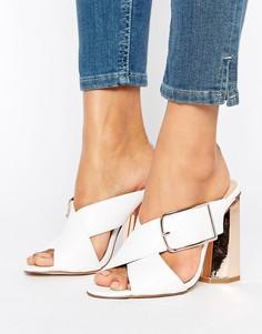 Туфли без задника на каблуке с перекрестным дизайном New Look - Белый