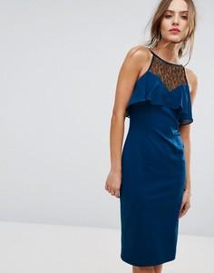 Облегающее платье с рюшами BCBG Illusion - Синий