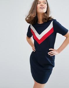 Платье-футболка с контрастными полосами Monki - Темно-синий