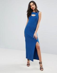 Облегающее платье с вырезами в стиле майки-борцовки спереди BCBG - Синий