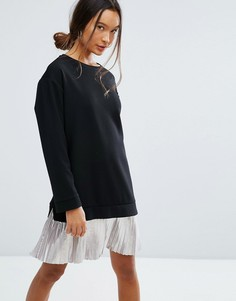 Платье 2 в 1 с блестящей плиссированной юбкой ASOS - Черный