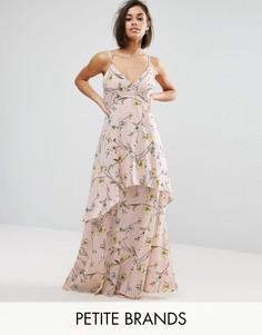 Boohoo Petite Floral Chiffon Maxi Dress - Розовый