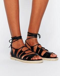 Кожаные сандалии-эспадрильи Pieces Louisa - Черный