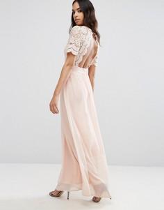 Платье макси с ажурным верхом Club L - Розовый