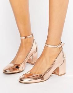 Золотисто-розовые туфли на среднем каблуке London Rebel - Медный
