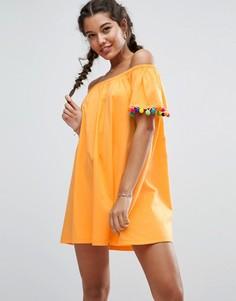 Свободный сарафан с открытыми плечами и яркими помпонами ASOS - Оранжевый