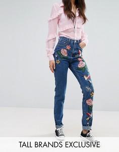 Джинсы в винтажном стиле с вышивкой Glamorous Tall - Синий