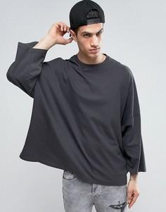 Черная выбеленная прямая oversize-футболка с широкими рукавами 3/4 ASOS - Черный