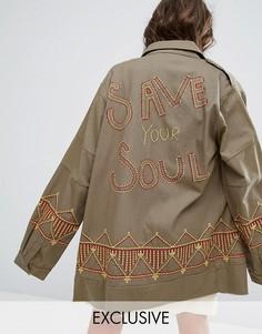 Oversize-куртка в стиле милитари с вышивкой Save Your Soul Sacred Hawk - Зеленый