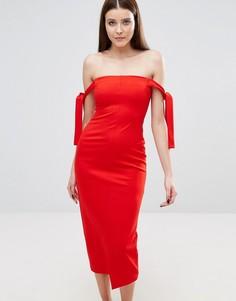 Платье-бандо миди с завязками Lavish Alice - Красный