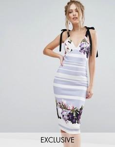Платье миди с бантиками и цветами True Violet - Мульти