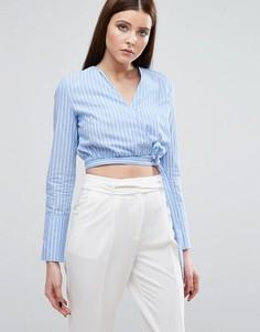 Рубашка в полоску с запахом на завязке Lavish Alice - Мульти