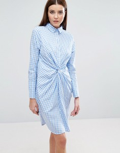 Платье-рубашка в клетку с перекрученным дизайном спереди Lavish Alice - Мульти