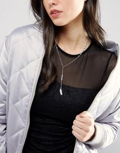 Ожерелье с подвеской-листиком DesignB London - Серебряный