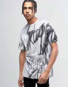 Свободная футболка с принтом граффити ASOS - Серый