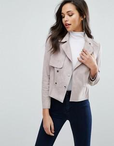 Байкерская куртка из искусственной замши Miss Selfridge - Розовый