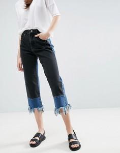 Контрастные прямые джинсы с необработанными краями ASOS - Мульти