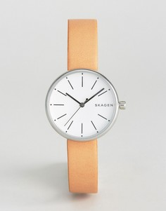 Часы со светло-коричневым кожаным ремешком Skagen Signatur - Серебряный