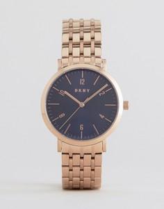 Часы цвета розового золота с темно-синим циферблатом DKNY - Золотой