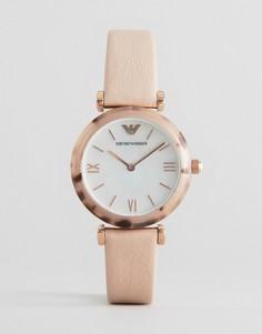 Часы с Т-образным креплением и бледно-розовым кожаным ремешком Emporio Armani - Золотой