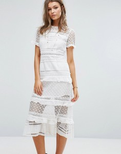 Платье миди с кружевными вставками Foxiedox Premium - Белый