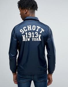 Темно-синяя куртка с логотипом на спине Schott - Темно-синий