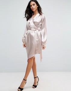 Атласное платье-рубашка с длинными рукавами Jessica Wright - Розовый