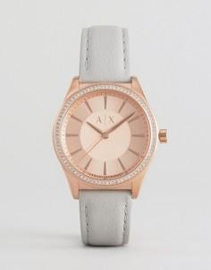 Золотистые часы с серым кожаным ремешком Armani Exchange Nicolette - Серый