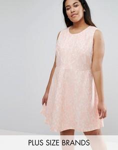 Короткое приталенное кружевное платье AX Paris Plus - Розовый