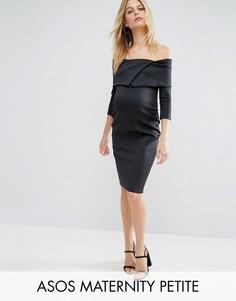 Платье с широким вырезом ASOS Maternity PETITE - Черный