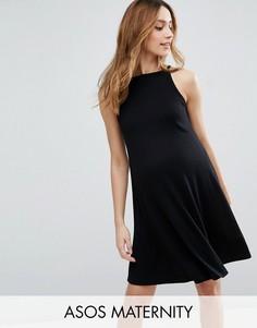 Свободное платье в рубчик ASOS Maternity - Черный