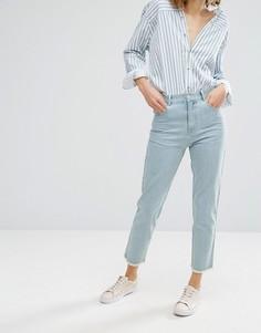 Укороченные джинсы с завышенной талией и необработанным краем Vale - Синий