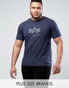 Темно-синяя футболка классического кроя с логотипом Alpha Industries PLUS - Темно-синий