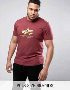 Бордовая футболка классического кроя Alpha Industries PLUS - Красный