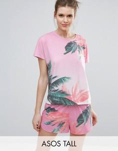 Пижамный комплект с футболкой и шортами с пальмовым принтом ASOS TALL - Мульти