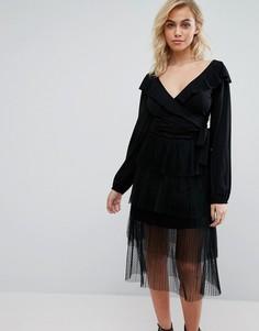 Топ с запахом спереди Fashion Union - Черный